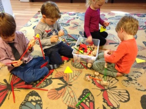 Building with tinker toys