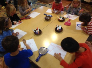 Working on our self portraits
