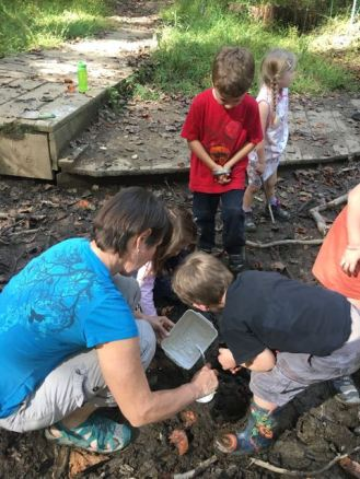 Making the casts in the pond mud