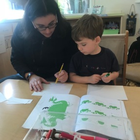 Learning to draw favorite animals with parent volunteer Kari