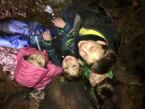 Inside the giant tree cave at the pond - fits at least six Oaks and a teacher