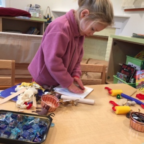 There are stories everywhere in children's play. Ask: What are you making? Who is that?