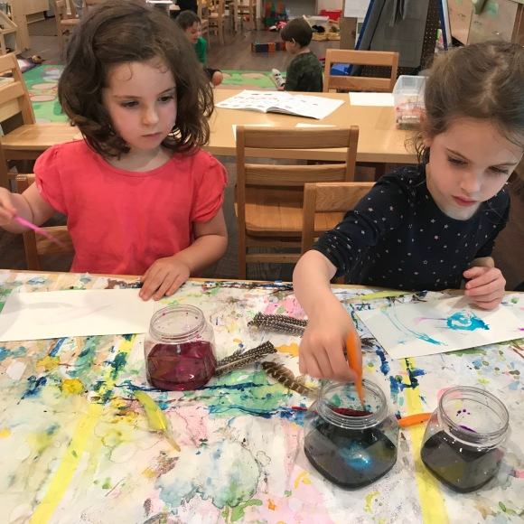 Painting and writing with quills